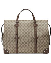 Gucci GG Tote Bag With Leather Details - Natural