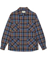 Gucci Hemd aus karierter Wolle mit Tiger-Patch - Blau