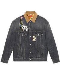 aa138aaa293 Gucci Logo Denim Jacket in Blue for Men - Lyst