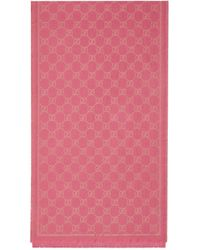 Gucci GG Lamé Modal Wool Scarf - Pink