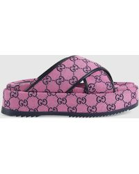 Gucci GG Multicolor Plateausandale - Pink