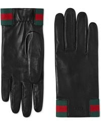 Gucci - Leather Gloves With Web - Lyst