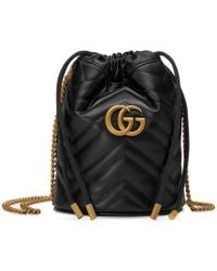Gucci Mini GG Marmont Bucket Bag - Black
