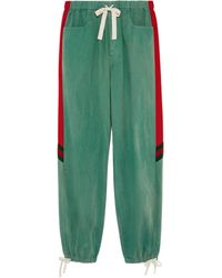 Gucci Loose Denim Track Bottoms With Web - Green