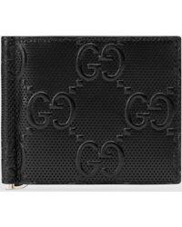 Gucci - 【公式】 (グッチ)GGエンボス マネークリップブラック レザーブラック - Lyst