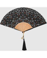 Gucci Fächer aus Seide mit geometrisch gepunktetem Print - Schwarz