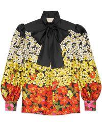 Gucci - Degrad Flowers Silk Twill Shirt - Lyst