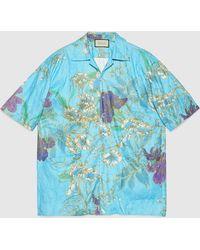 Gucci グッチオーバーサイズ ペーパー エフェクト ボウリングシャツ - ブルー