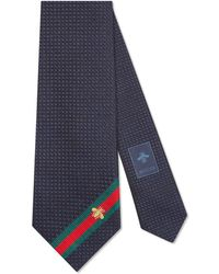 Gucci Silk Tie With Bee Web - Blue