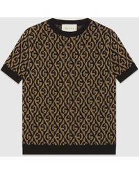 Gucci - グッチgランバス ラメ ウールジャカード セーター - Lyst