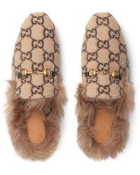 Gucci Princetown Slipper aus Wolle mit GG Motiv - Natur