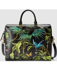 Gucci Tropical Print Leather Briefcase - Green