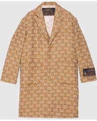 Gucci Mantel aus strukturierter G Wolle mit Etikett - Natur