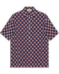 Gucci Camisa Bowling de crepé con GG hexagonal - Azul