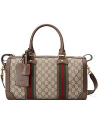 Gucci GG Small Duffle Bag With Web - Natural