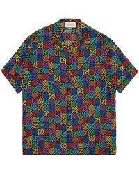 Gucci Bowling Shirt mit GG Psychedelic Print - Schwarz
