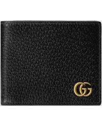 Gucci - 【公式】 (グッチ)〔GGマーモント〕二つ折りウォレットブラック レザーブラック - Lyst
