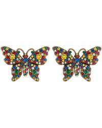 Gucci - Orecchini con farfalla e cristalli - Lyst