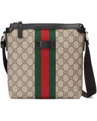 Gucci Flache Umhängetasche aus GG Supreme mit Webstreifen - Natur