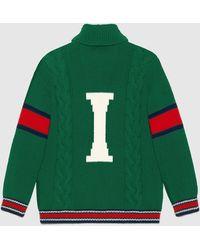 Gucci DIY Unisex Cardigan aus Wolle - Grün