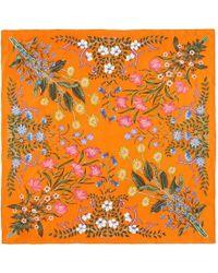 Gucci | New Flora Print Silk Scarf | Lyst