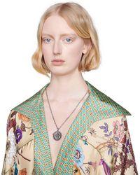 Gucci Halskette aus Silber mit Doppel G Anhänger - Mettallic