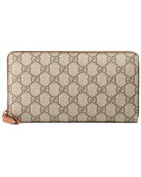 Gucci - Gg Supreme Zip Around Wallet - Lyst