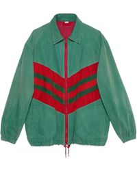 Gucci Oversize Denim Jacket With Web - Green