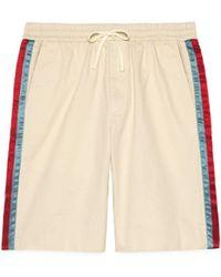 Gucci Short en coutil de coton et bande acétate - Blanc