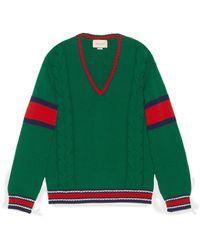 Gucci Pullover mit Zopfmuster und V-Ausschnitt - Grün