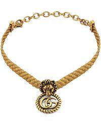 Gucci Choker testa di leone con Doppia G - Metallizzato