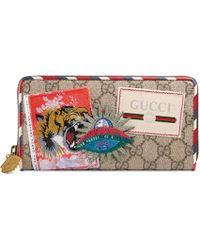 Gucci - Courrier Gg Supreme Zip Around Wallet - Lyst