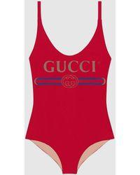 Gucci グッチオンライン限定 ロゴ スパークリング スイムスーツ - レッド