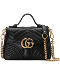 Gucci Mini sac à main GG Marmont - Noir