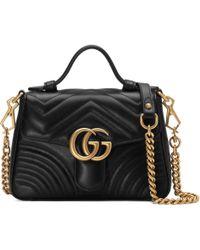 Gucci Bolso de mano GG Marmont mini - Negro