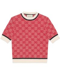 Gucci Top de punto con GG - Rojo