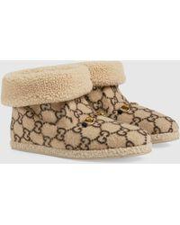Gucci Herren-Stiefelette aus Wolle mit GG Motiv - Natur
