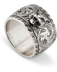 Gucci - Wide Silver Ring With Feline Head - Metallic