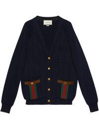 Gucci Knit Wool Blend Cardigan With Web - Blue