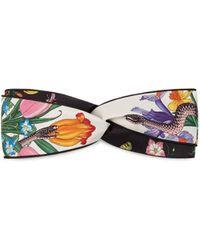 Gucci Kopfband mit Blumen und Schlangen Print - Weiß