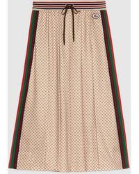 Gucci 【公式】 (グッチ) インターロッキングg プリント プリーツスカートベージュベージュ - ナチュラル