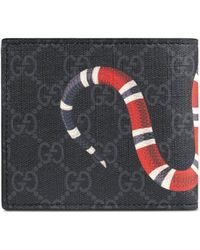 Gucci GG Supreme Snake Billfold Wallet - Black