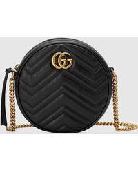 Gucci 【公式】 (グッチ)〔GGマーモント〕ラウンド ミニ ショルダーバッグブラック レザーブラック