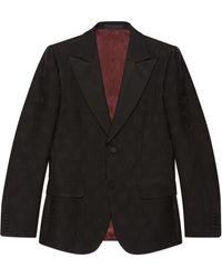 Gucci Chaqueta de lana y seda con raya y gg ajustada - Negro