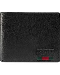Gucci Leather Bi-fold Wallet With Web - Black