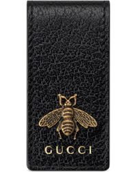 Gucci Bee Motif Money Clip Wallet - Black