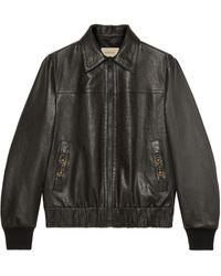 Gucci Blouson aviateur en cuir - Noir