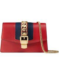 Gucci - Sylvie Leather Mini Chain Bag - Lyst