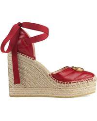 Gucci Leather Platform Espadrille - Red