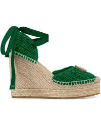 Gucci - Espadrilles à plateforme en crochet - Lyst